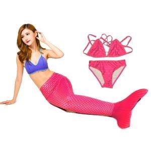 Coada-sirena-inot pink costum baie